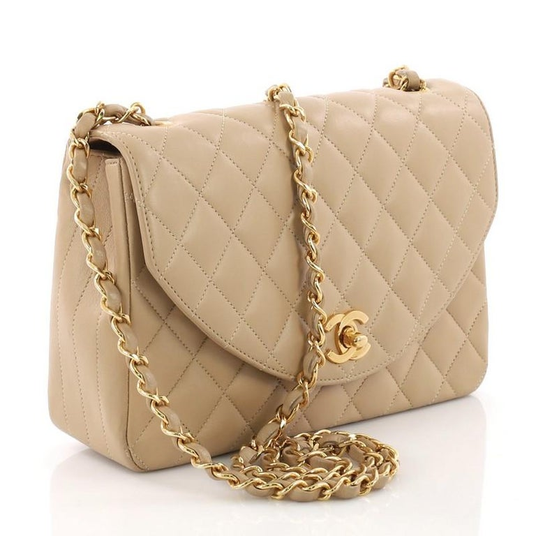 3ab8315d67827a Brown Chanel Vintage Round Flap Bag Quilted Lambskin Small For Sale