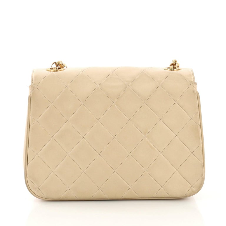 26ed8dd18750 Chanel Vintage Round Flap Bag Quilted Lambskin Small In Fair Condition For  Sale In New York