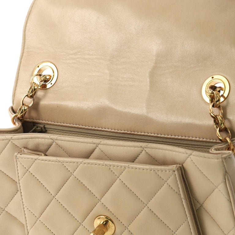 129245f55dcc Chanel Vintage Round Flap Bag Quilted Lambskin Small at 1stdibs