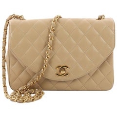 Chanel Vintage Round Flap Bag Quilted Lambskin Small
