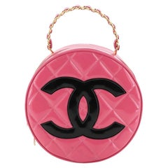 Chanel Vintage Round Top Handle Vanity Case Quilted Patent
