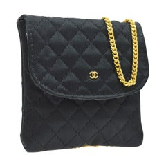 Chanel Vintage Satin Mini Small Micro Evening Pouch Gold Shoulder Flap Bag