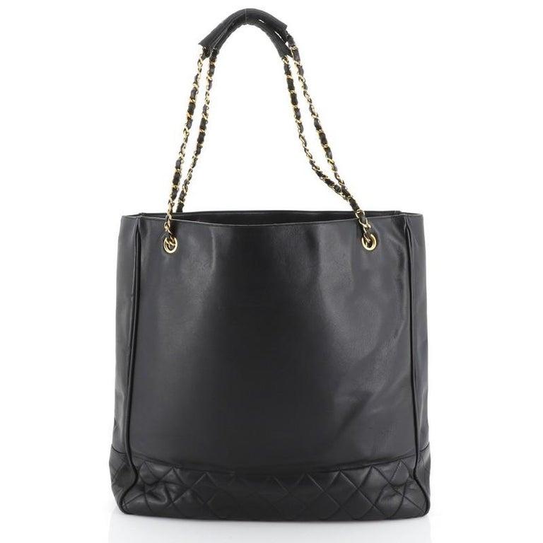 Black Chanel Vintage Shopping Tote Lambskin Large