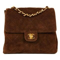CHANEL Vintage Shoulder Bag in Brown Suede Leather