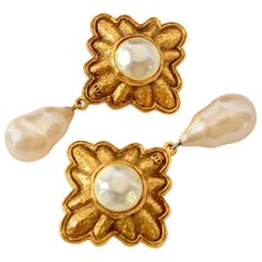 Chanel vintage signed collection 26 pearl drop earclips