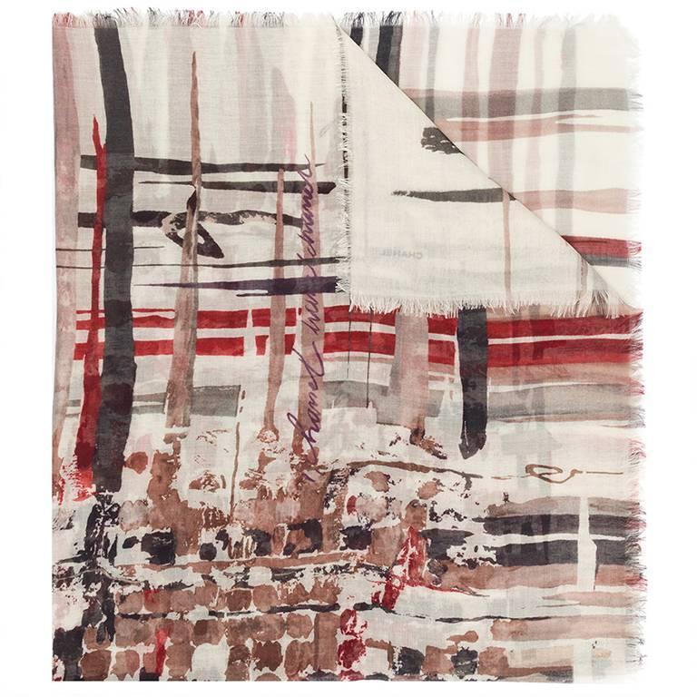 Chanel  silk-cashmere scarf