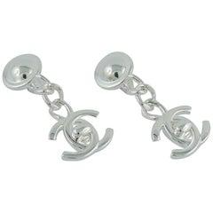 Chanel Vintage Silver Toned CC Turnlock Dangling Earrings FW 96