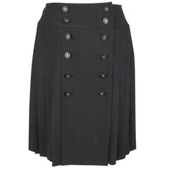 Chanel Vintage Skirt Pleated Double Row CC Buttons 40 / 6
