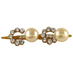 Chanel Vintage Spelling C O C O Pearl and Crystal Brooch