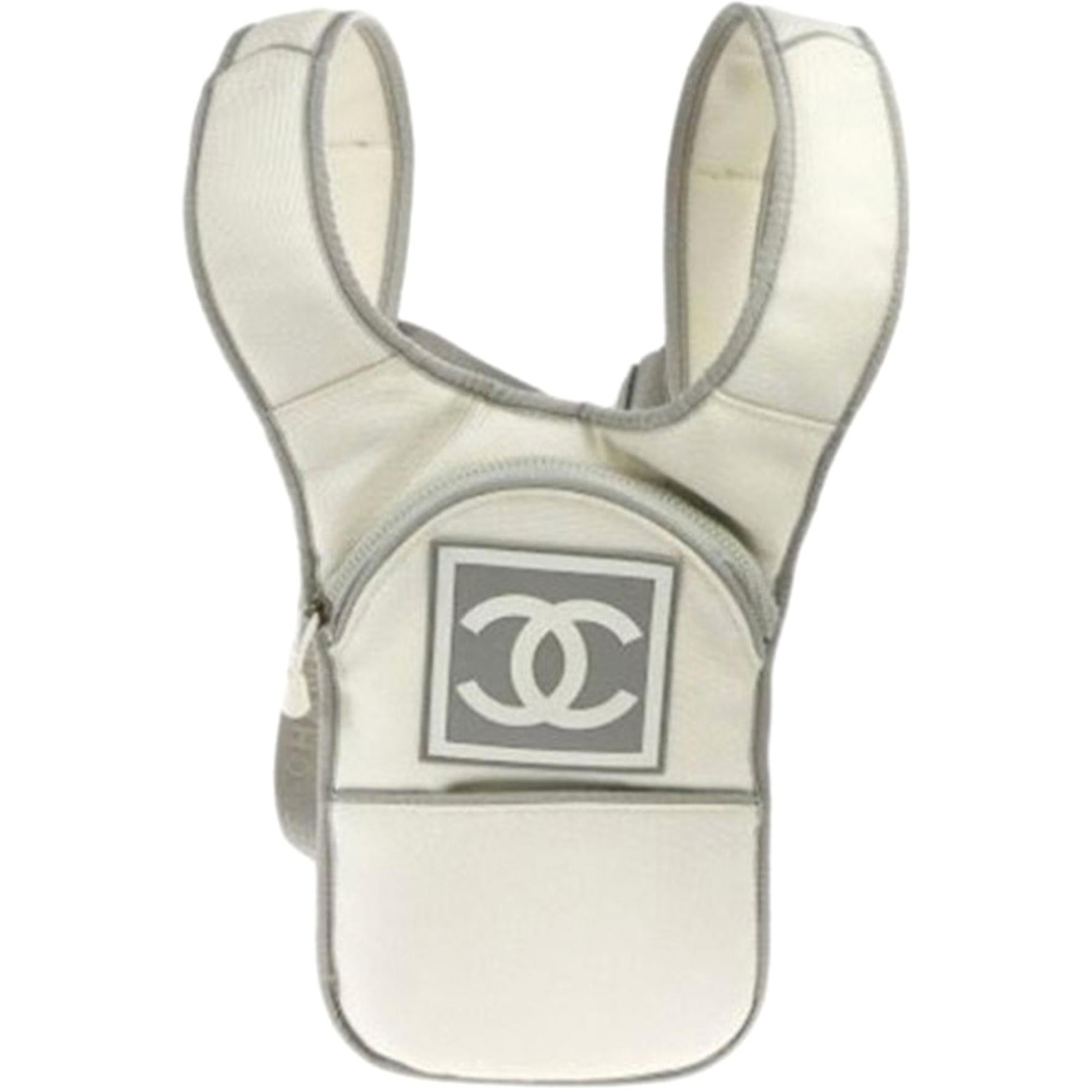 Chanel Vintage Sport Rare White and Grey Nylon Backpack