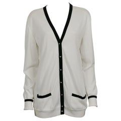 Chanel Vintage Spring 1996 Classic White & Black Cotton Cardigan