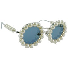 Chanel Vintage Spring Summer 1994 Iconic Runway Faux Pearl Round Sunglasses