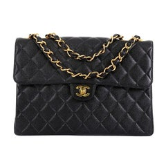 Chanel Vintage Square CC Flap Bag Quilted Caviar Jumbo
