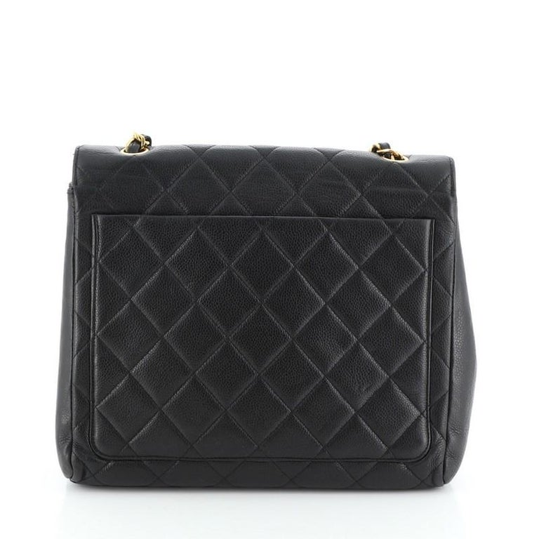 Chanel Vintage Square CC Flap Bag Quilted Caviar Medium In Good Condition For Sale In New York, NY