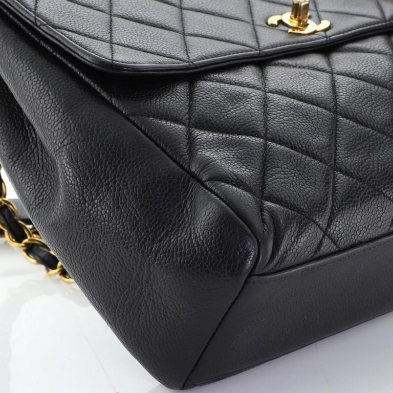 Chanel Vintage Square CC Flap Bag Quilted Caviar Medium For Sale 2