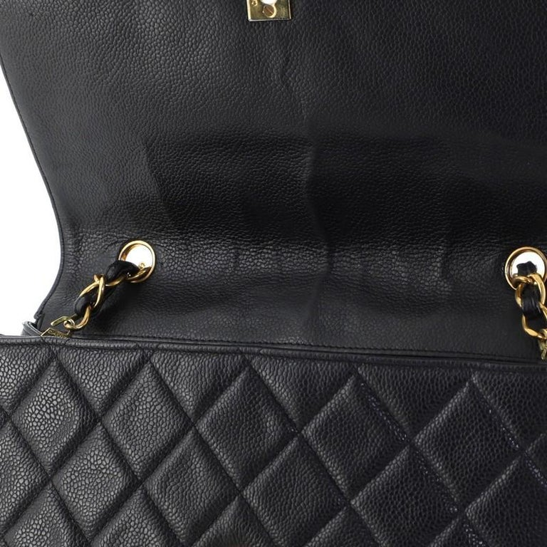 Chanel Vintage Square CC Flap Bag Quilted Caviar Medium For Sale 3