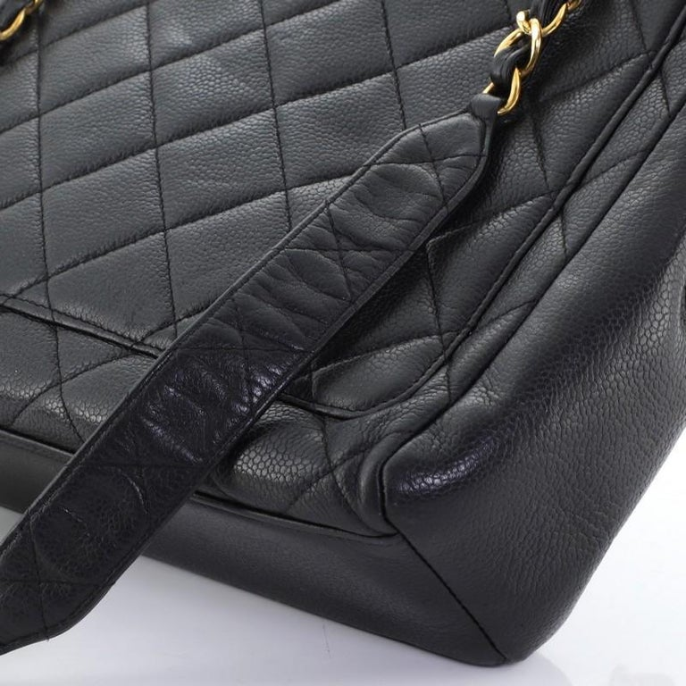 Chanel Vintage Square CC Flap Bag Quilted Caviar Medium For Sale 4