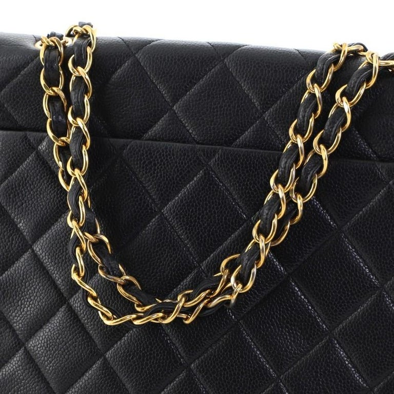 Chanel Vintage Square CC Flap Bag Quilted Caviar Medium For Sale 5