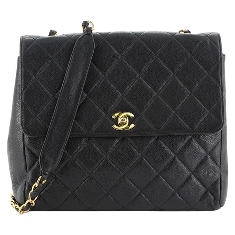 Chanel Vintage Square CC Flap Bag Quilted Caviar Medium For Sale