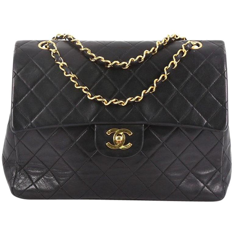 aad24b6de086 Chanel Vintage Square Classic Double Flap Bag Quilted Leather Medium For  Sale