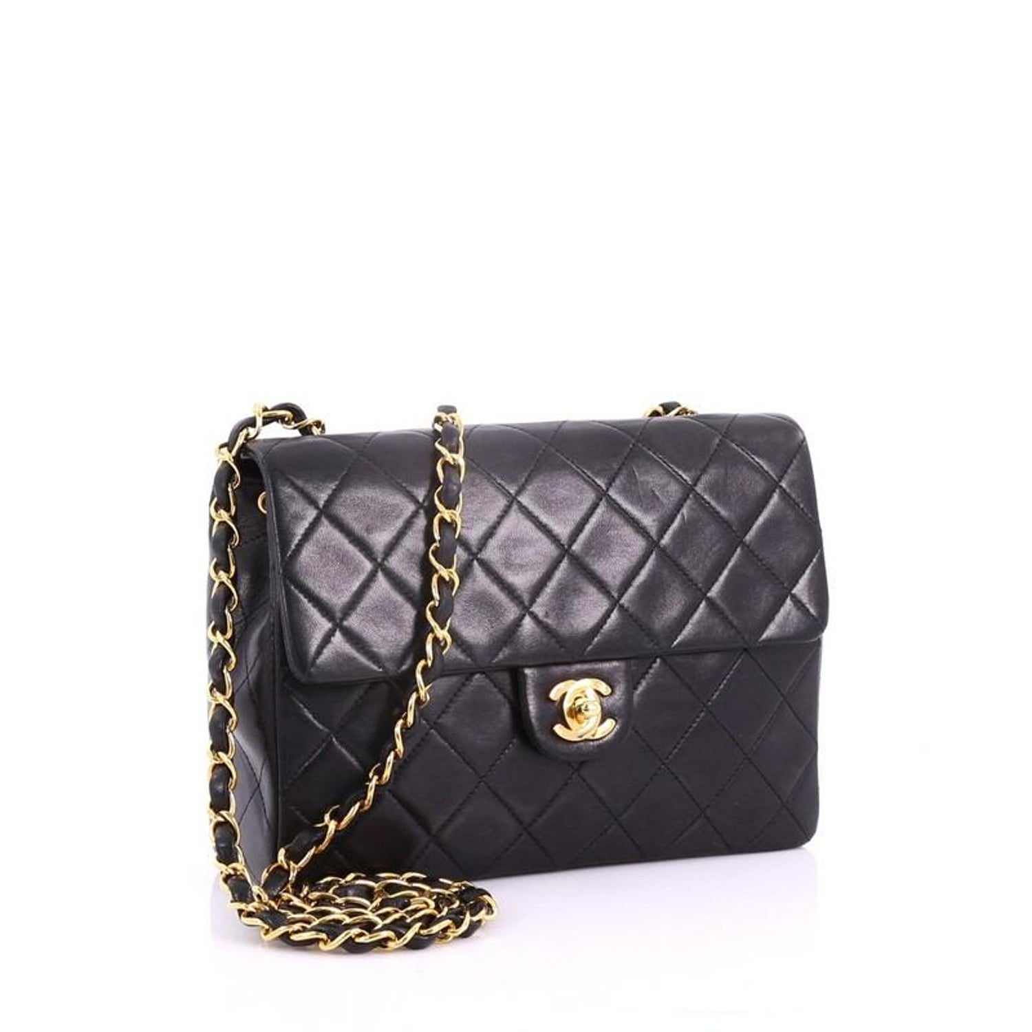 d1580a404fb0 Chanel Vintage Square Classic Flap Bag Quilted Lambskin Small at 1stdibs
