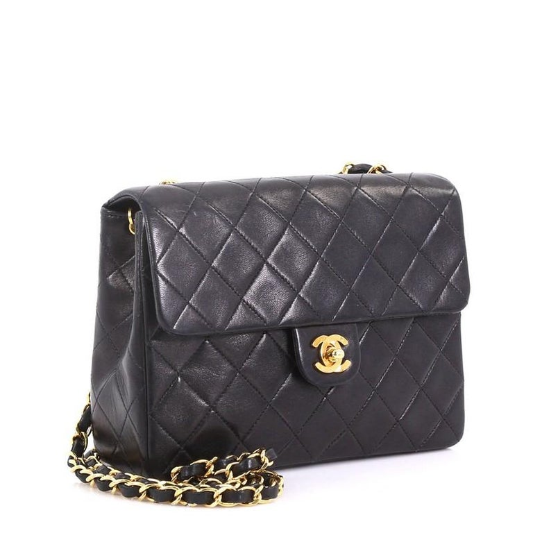 fcfc8b53461c Black Chanel Vintage Square Classic Flap Bag Quilted Lambskin Small For Sale