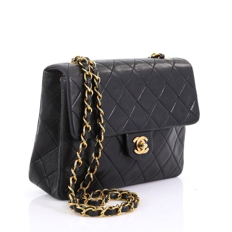 78af5c1f407f Black Chanel Vintage Square Classic Flap Bag Quilted Lambskin Small For Sale