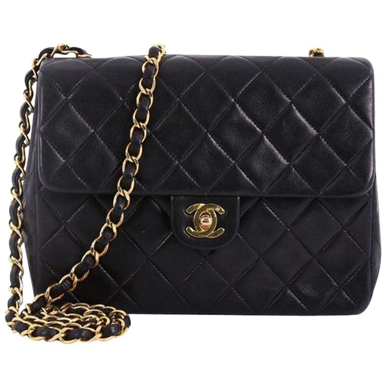 6a06e7dbe0c5 Chanel Vintage Square Classic Flap Bag Quilted Lambskin Small at 1stdibs
