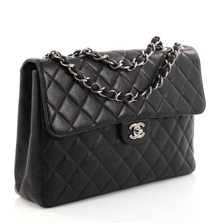 01459804ff8b77 Black Chanel Vintage Square Classic Single Flap Bag Quilted Caviar Jumbo  For Sale