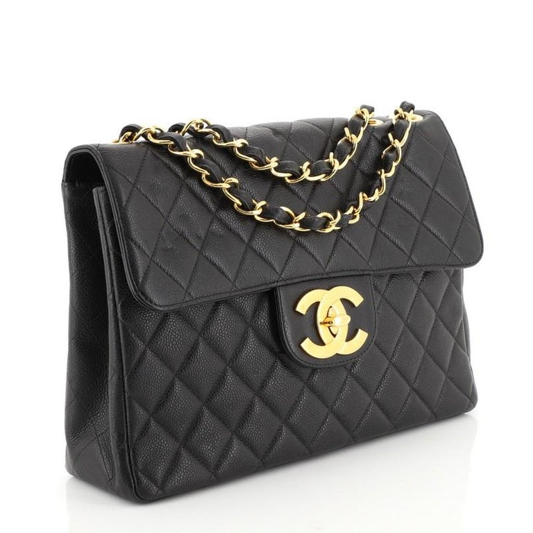 Black Chanel Vintage Square Classic Single Flap Bag Quilted Caviar Jumbo For Sale