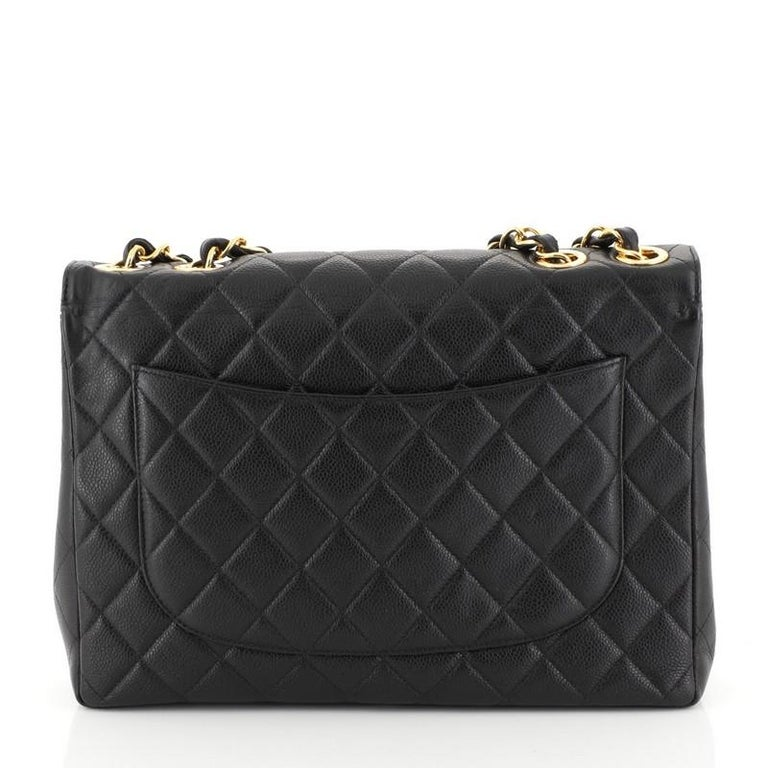Chanel Vintage Square Classic Single Flap Bag Quilted Caviar Jumbo In Good Condition For Sale In New York, NY