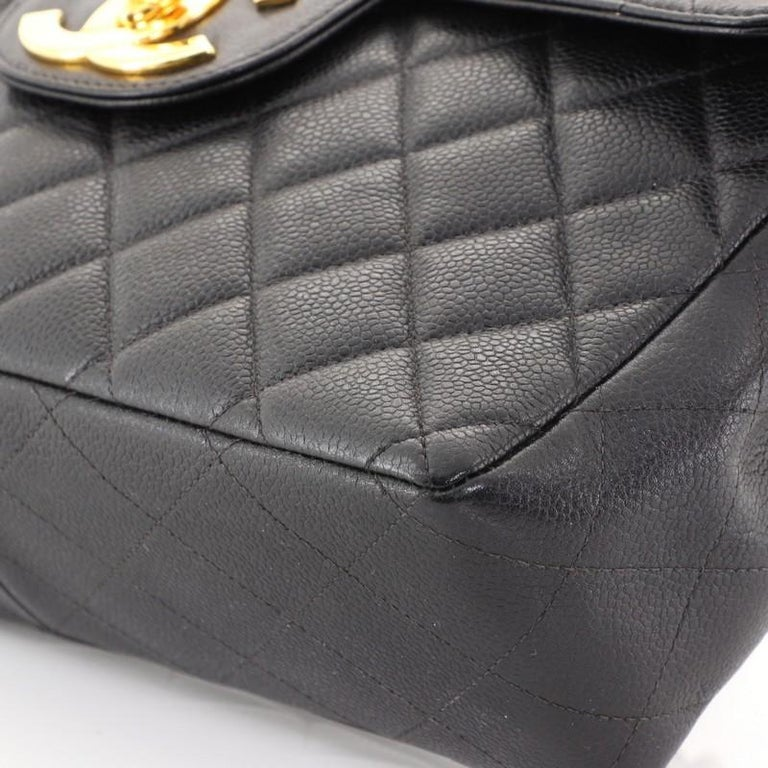Chanel Vintage Square Classic Single Flap Bag Quilted Caviar Jumbo For Sale 1