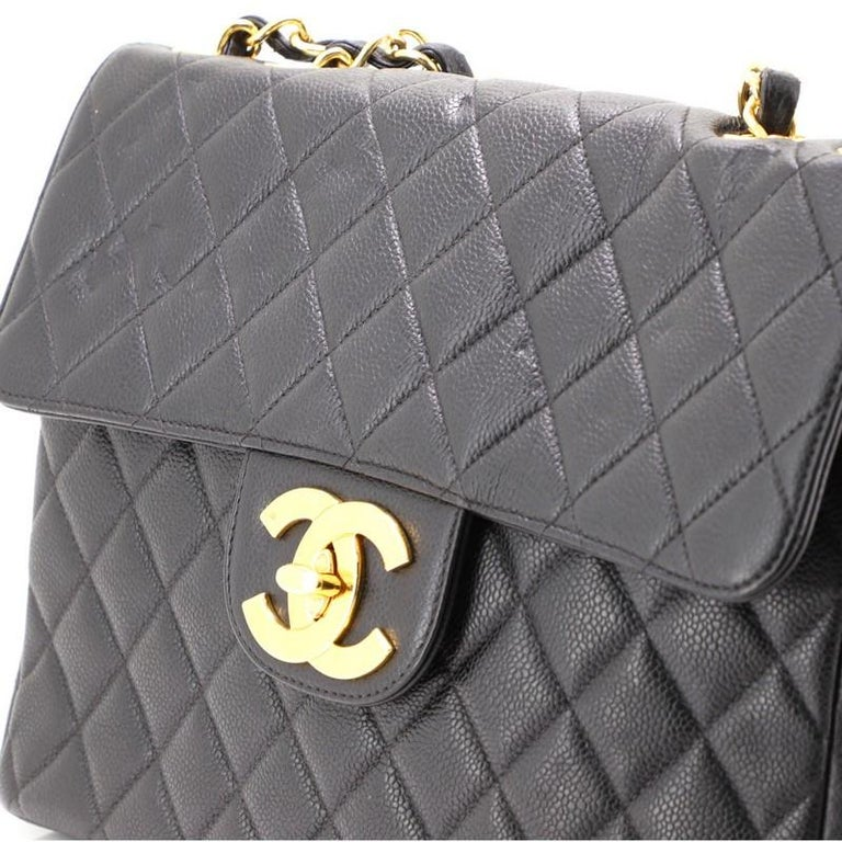 Chanel Vintage Square Classic Single Flap Bag Quilted Caviar Jumbo For Sale 2