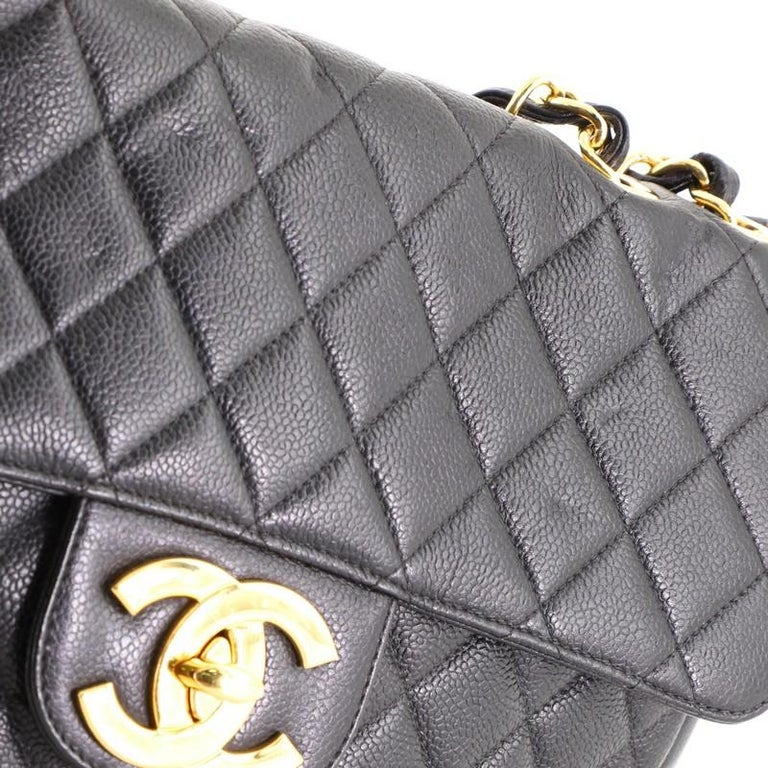 Chanel Vintage Square Classic Single Flap Bag Quilted Caviar Jumbo For Sale 3