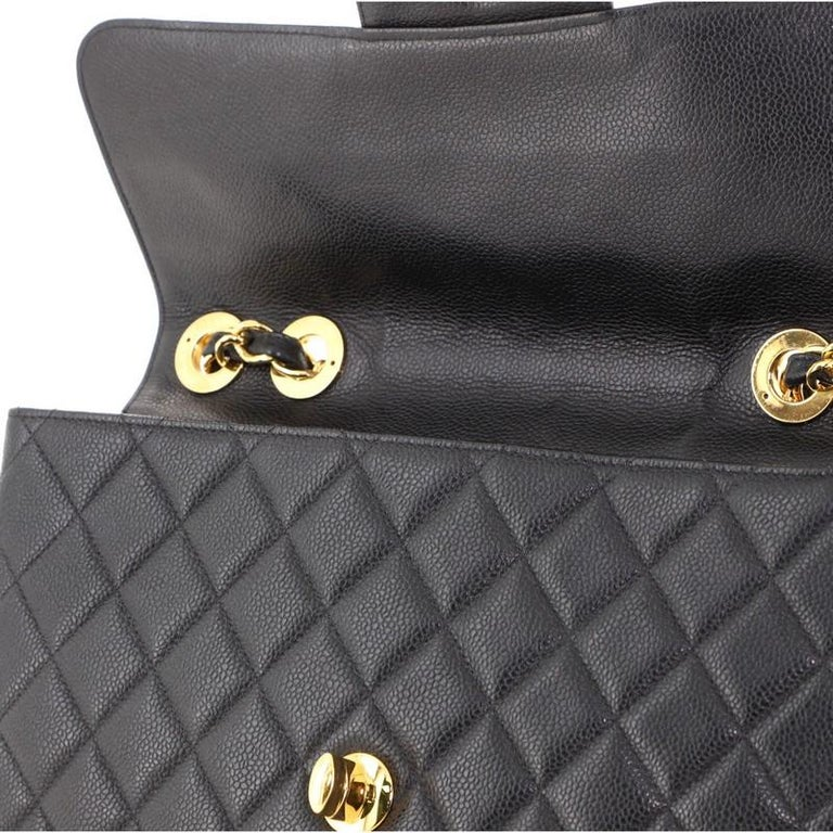 Chanel Vintage Square Classic Single Flap Bag Quilted Caviar Jumbo For Sale 4