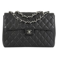 Chanel Vintage Square Classic Single Flap Bag Quilted Caviar Jumbo