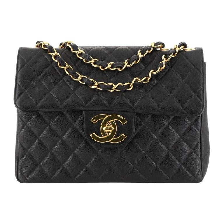 Chanel Vintage Square Classic Single Flap Bag Quilted Caviar Jumbo For Sale