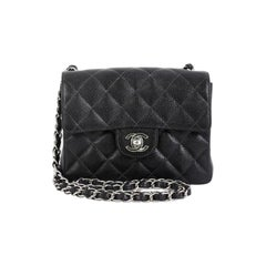 Chanel Vintage Square Classic Single Flap Bag Quilted Caviar Mini