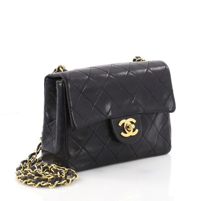 7cd0b766c8f01c Black Chanel Vintage Square Classic Single Flap Bag Quilted Lambskin Mini  For Sale