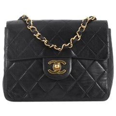 Chanel Vintage Square Classic Single Flap Bag Quilted Lambskin Mini