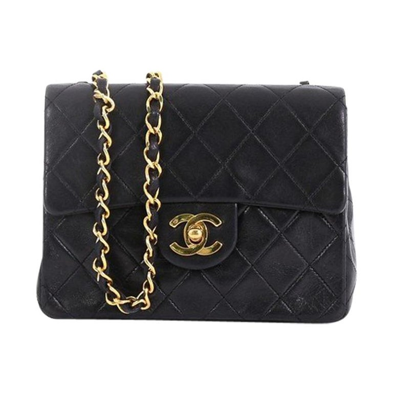 c1da37bec3e128 Chanel Vintage Square Classic Single Flap Bag Quilted Lambskin Mini For Sale