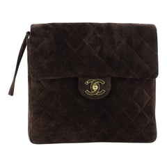 Chanel Vintage Square Flap Backpack Quilted Suede Medium