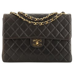 Chanel Vintage Square Flap Bag Quilted Lambskin Jumbo