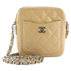 Chanel Vintage Square Pocket Chain Shoulder Bag Quilted Caviar Small