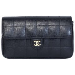 Chanel Vintage Square Quilted Classic Caviar Flap Waist Bag