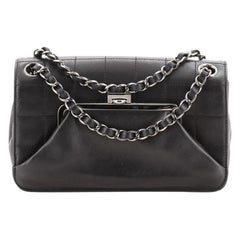 Chanel Vintage Square Stitch Kiss Lock Flap Bag Quilted Lambskin Small