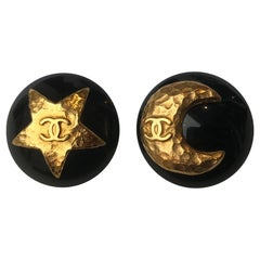Chanel Vintage Star And Moon Clip On Earrings