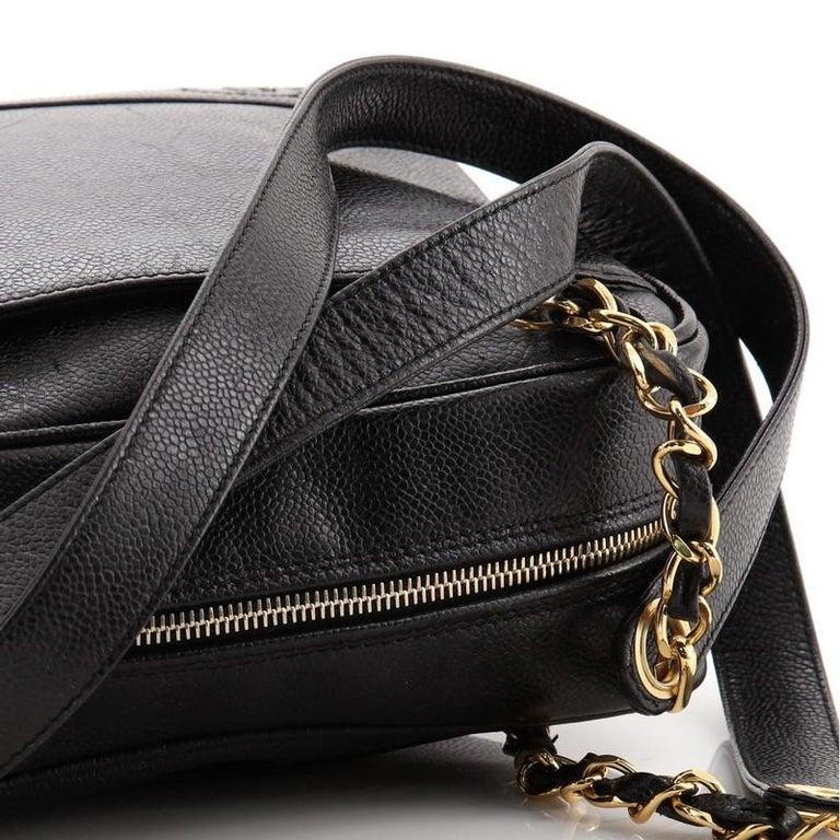 Chanel Vintage Stitched CC Shoulder Bag Caviar Medium For Sale 4