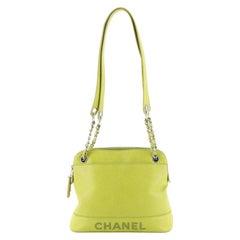 Chanel Vintage Stitched CC Shoulder Bag Caviar Small