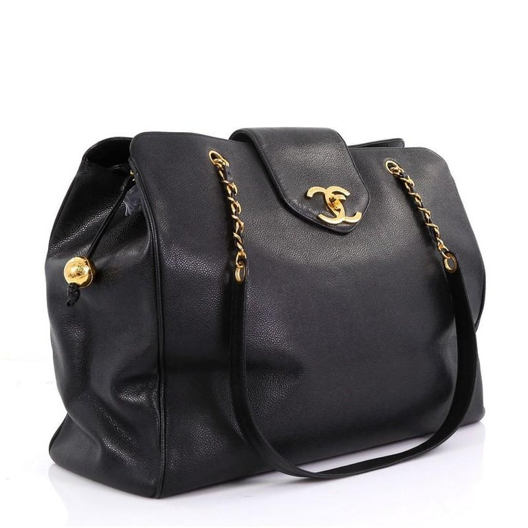 Chanel Vintage Supermodel Weekender Bag Caviar Large At 1stdibs